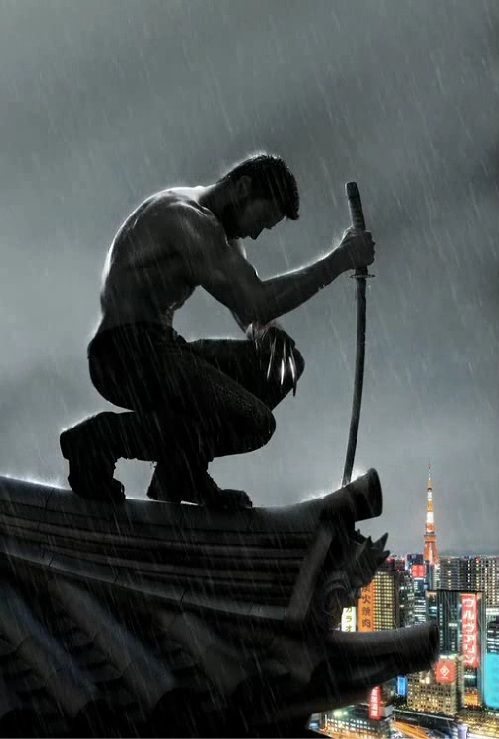 Hugh Jackman, shirtless in the rain, in a new poster for The Wolverine — I am so there, for the eye candy alone...