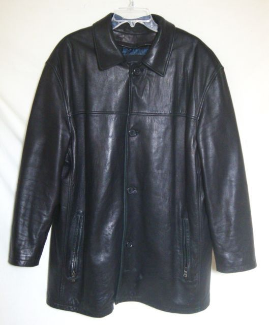 Andrew Marc Black Leather Coat Butter Soft Button Jacket ...