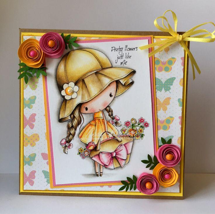 All Dressed Up stamps/ little flower girl/ Polychromos pencils/ digi/ Etsy/ Wendy Burns/ Ness Butler/ card making/