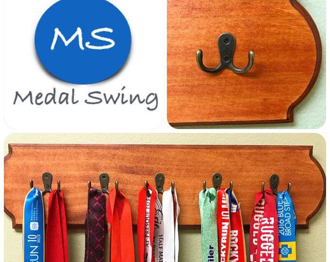 Running Medal Display Holder - Traditional Cherry Stain Finish - Wooden Running Medal Display/Holder, Running Medal Holder, Running Gift