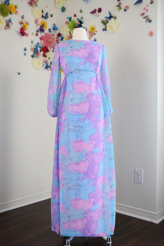 Vintage 1970s Boho Patterned Pastel Maxi Dress Sheer Long