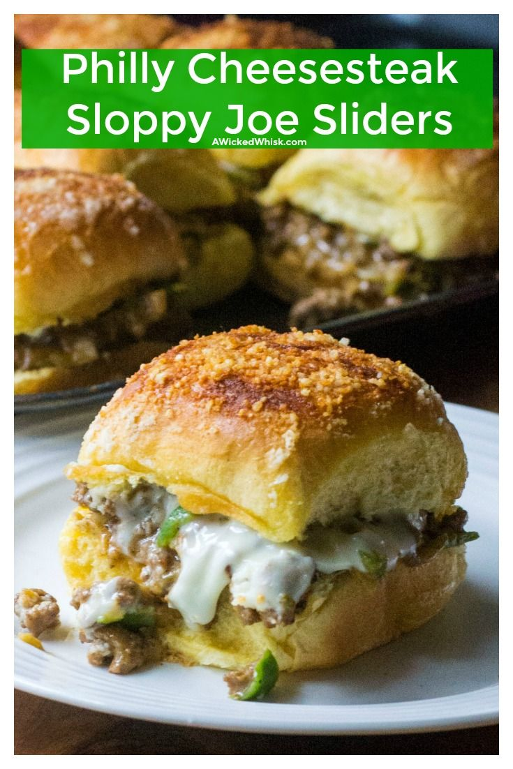 Philly Cheesesteak Sloppy Joe Sliders are the perfect 30 minute meal to feed a crowd. Made with cheesy ground beef, onions and peppers and baked in the oven, these Philly Cheesesteak Sloppy Joe Sliders are fast to make and impossible not to love.   A Wicked Whisk   https://www.awickedwhisk.com #phillycheesesteak #phillycheesesteaksandwich #phillycheesesteaksliders #sloppyjoe #sloppyjoyrecipe #sloppyjoesliders #phillycheesesteaksloppyjoe