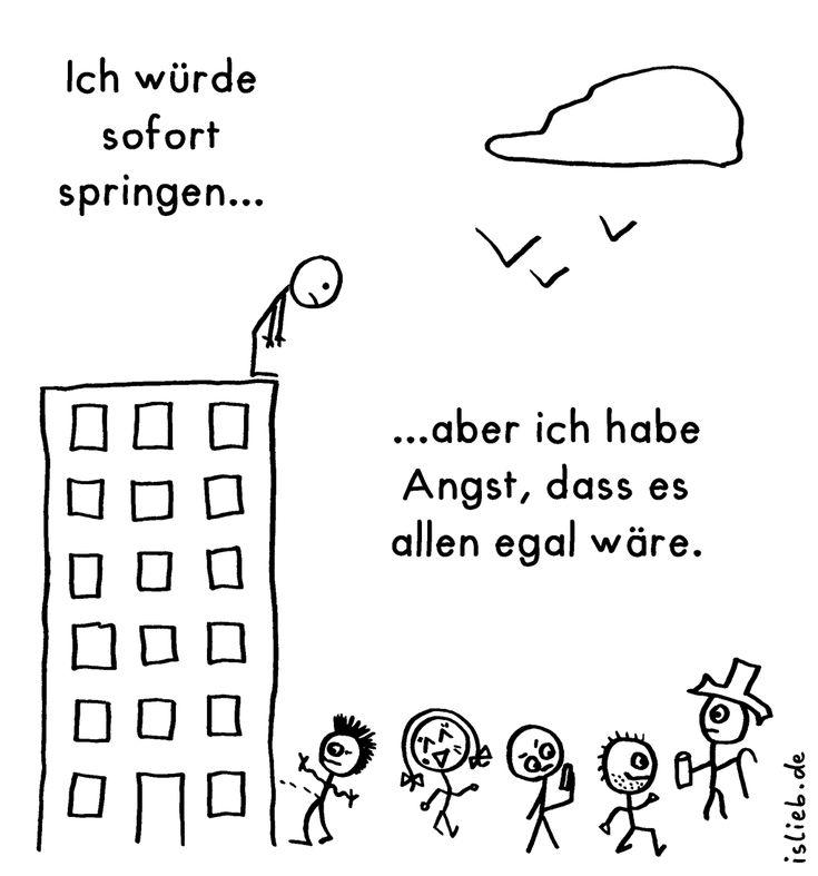 Suizid? (Strichmännchen-Cartoon) - islieb.de   Depression, Selbstmord, Angst, springen, #islieb