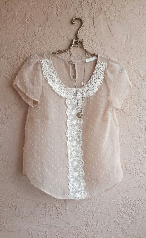 Vintage inspired blouse. Innocent with jeans; great with leather!
