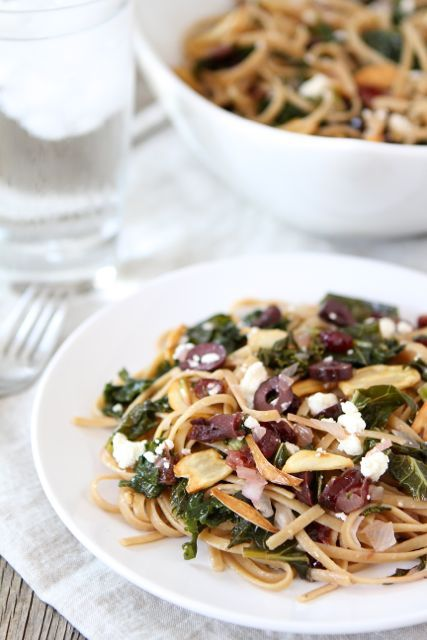 Pasta with Kale, Kalamata Olives, Dried Cranberries, Toasted Garlic, & Feta | Two Peas and Their Pod