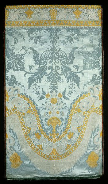 Lyon, France ca. 1685-1700 ~ Silk damask brocaded and satin twill. Possibly woven Spitalfields, England.