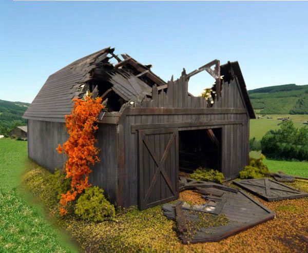 Actually, a laser art model of a barn for a model train set by Branchline