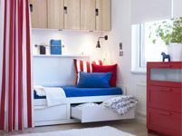 shelves above guest bed. curtain to seperate. Bedroom Furniture - Beds, Mattresses & Inspiration - IKEA