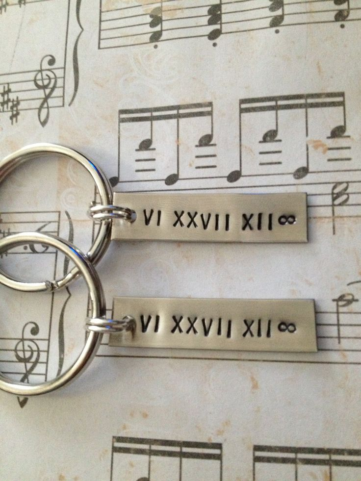 Couple's Keychains, Create Your OWN - Roman Numeral Date, Anniversary, Wedding, Personalized. $16.00, via Etsy.