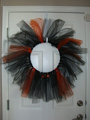 festive tulle wreath; perhaps not exactly like this, but it's just an idea....