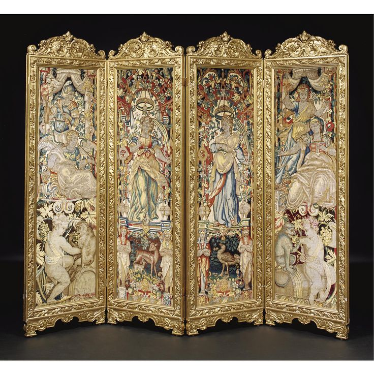 A baroque style gold-painted four-fold tapestry screen the frame late 19th century, the tapestry Brussels, 17th century.