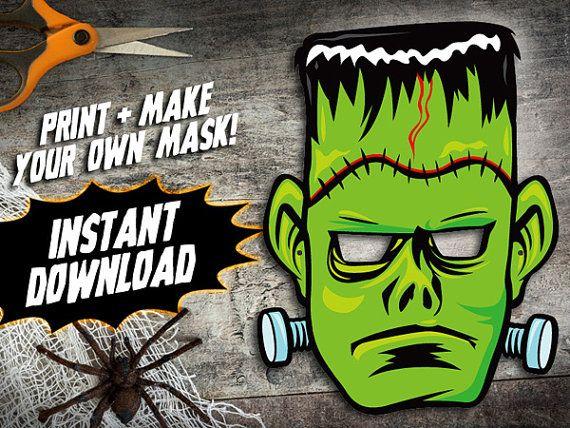 AFDRUKBARE masker van Frankenstein, kids halloween masker van papier, DIY halloween kostuum partijen, papier monster masker, instant download PDF