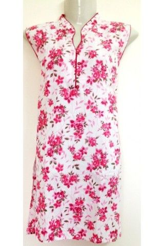 #CottonKurti - White And Pink Floral Printed Closed Neck