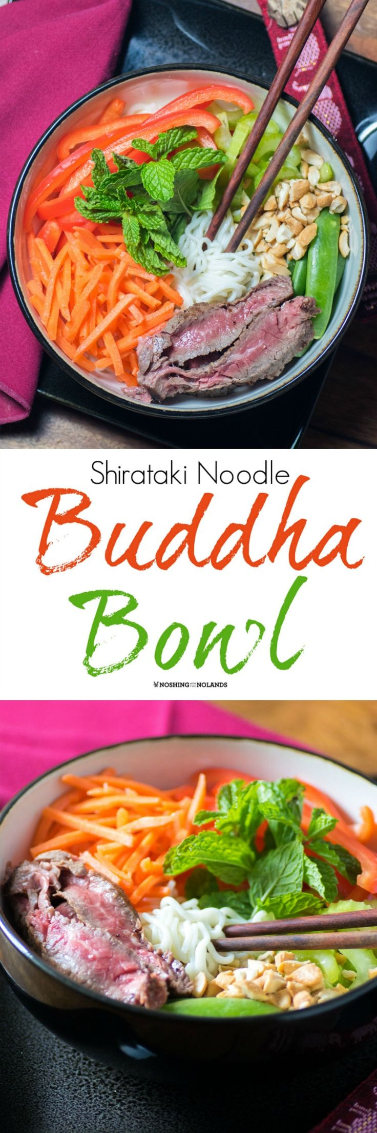 Tofu Shirataki Noodle Buddha Bowl by Noshing With The Nolands is a quick and easy dinner to pull together. You are going to love the umami flavor and fewer calories!