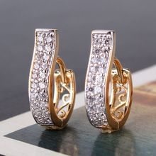 MinOrder$10 New 2014 Korean Fashion 18K Gold Platinum Plated White Rhinestones CZ Hoop Earrings High Quality Free Shipping E105d(China (Mainland))