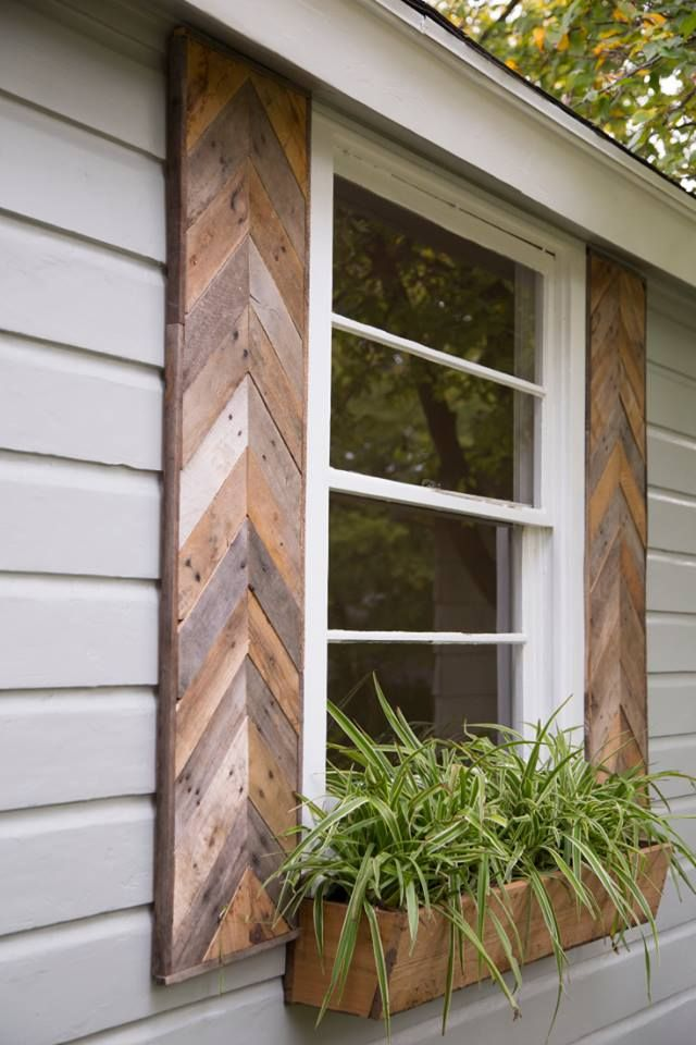 Wood herringbone/chevron shutters - via HGTV Fixer Upper