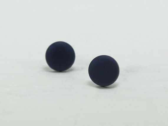 Navy Blue Stud Earrings  Navy Studs  Matte Navy Blue by biesge, $10.00