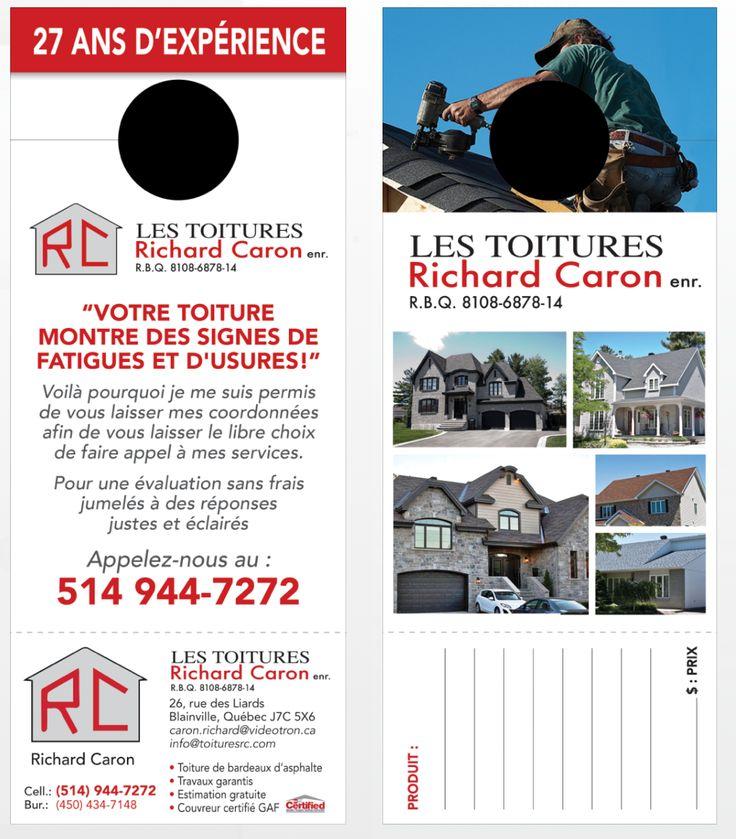 IMPRESSION ACCROCHE PORTE RAPIDE - Contactez-nous  -- Client : Toitures RC, Richard Caron. INSTALLATION, RÉPARATION, COUVREURS TOITURES BARDEAUX. Cell.: 514-944-7272 • Bur.: 450-434-7148 • info@toituresrc.com -- Territoire : Terrebonne, Mascouche, Blainville, Rosemère, St-Eustache, Mirabel, Saint-Jérôme, Sainte-Julienne, La Plaine, Lachute, Deux-Montagnes, Laval, Repentigny, Joliette, Mont-Tremblant, Laurentides, Lanaudière...