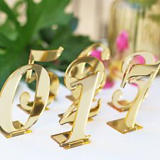 Customized Wedding Standing Table Number Mirror Gold Acrylic Party Table Decor