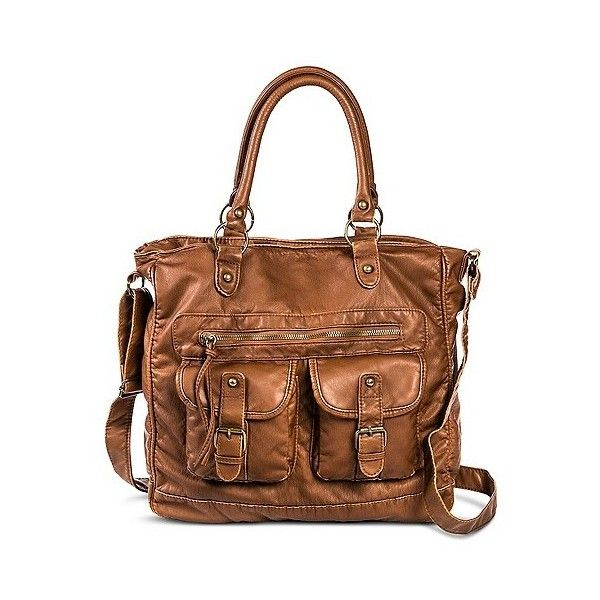 Women's Double Pocket Tote Handbag Cognac, Caramel ($30) ❤ liked on Polyvore featuring bags, handbags, tote bags, caramel, target purses, target handbags, target totes, cognac handbag and cognac purse
