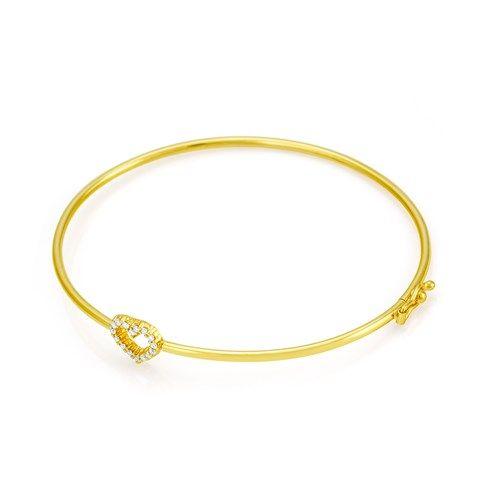 Pulseira em Ouro 18k Algema Coração com Diamantes pu00743 - Joiasgold
