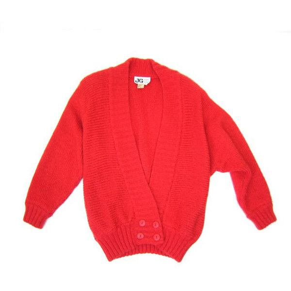 Vintage red sweater coat 80s Oversized thick knit Coat Chunky Fuzzy... ($48) ❤ liked on Polyvore featuring tops, cardigans, chunky knit cardigan, oversized cocoon cardigan, long cardigan, red knit cardigan and long red cardigan