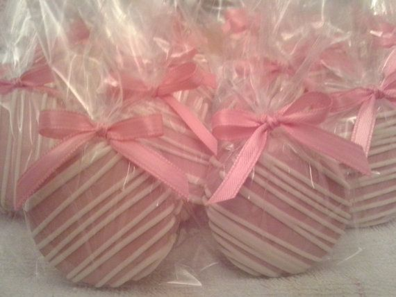 Pretty in Pink Chocolate Covered  Oreos Cookies It's A Girl Baby Shower Wedding Party Favors Christening