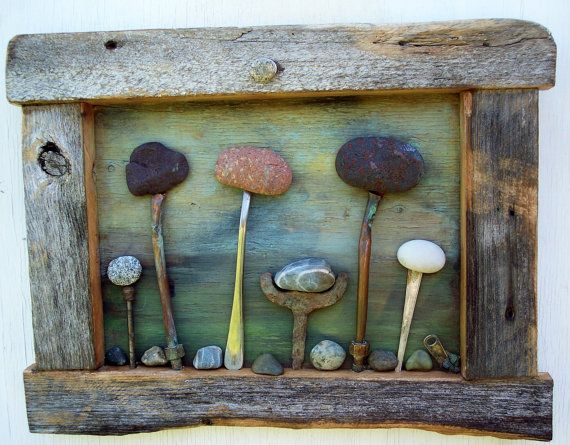 Rock Garden art Assemblage, reclaimed Barn wood frame with Campobello Island Rocks