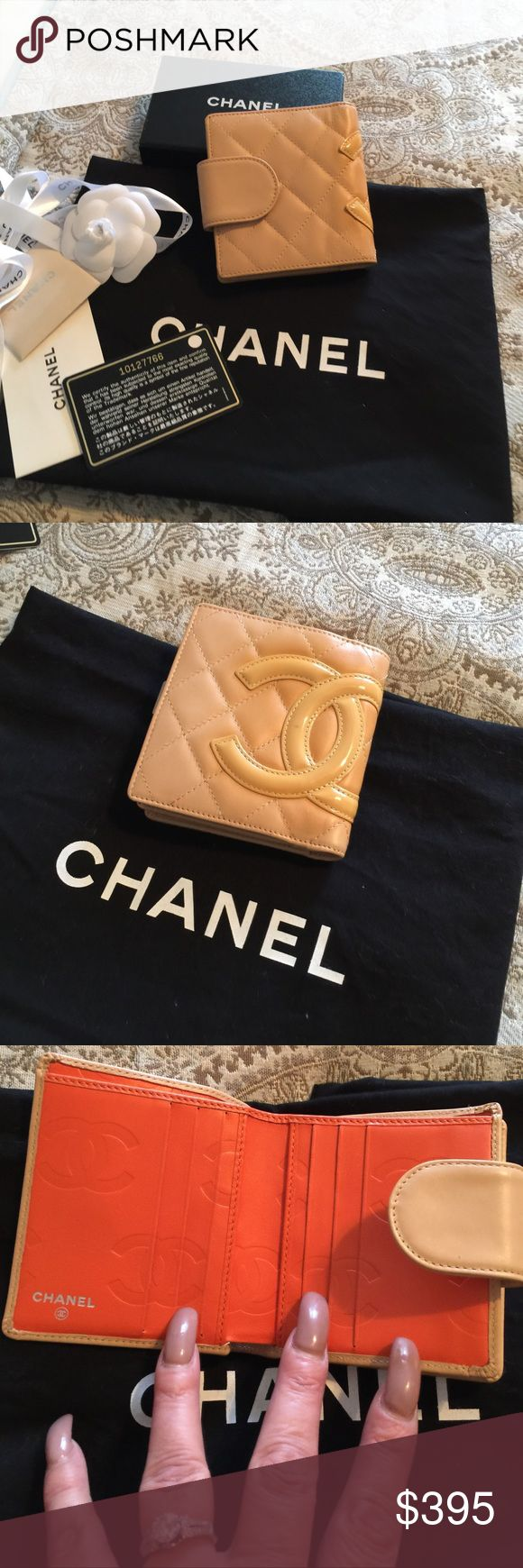 Authentic Chanel wallet beautiful condition Great authentic Chanel wallet excellent condition. Holds a lot. Nude / tan leather outside orange lining. Super cute good size CHANEL Bags Wallets