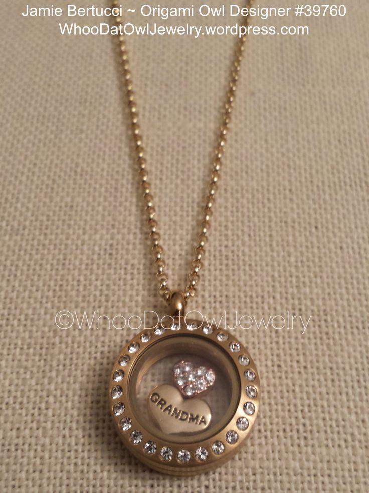 Origami Owl Living Locket - mini gold with crystals LOVE GRANDMA. Locket design shown $40.00