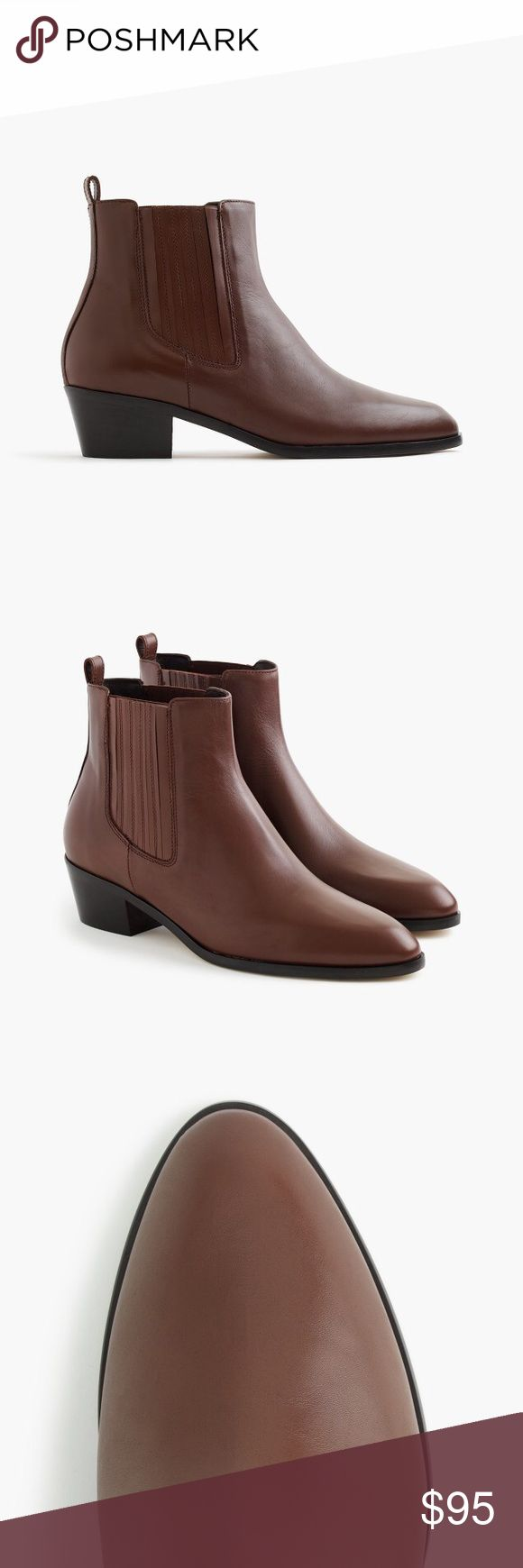 "J Crew Chelsea brown leather ankle boots, 8.5 NEW 1 7/8"" heel. 4.6/5 rating on J Crew website. LOVE THESE BOOTS but I bought the wrong size as they are a bit too narrow for my wide feet. Brand new in box. Make me an offer! J. Crew Shoes Ankle Boots & Booties"