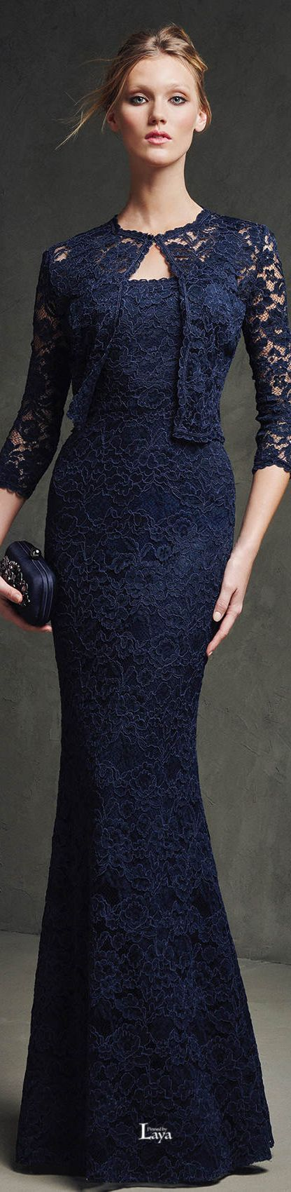 Pronovias ~ Spring Navy Embroidered Maxi Dress with Cropped Jacket 2015