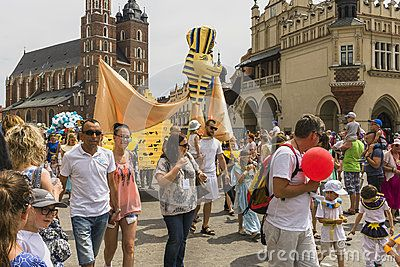 Event in Krakow on the Market Square , Dragon Parade , Poland, Europe.