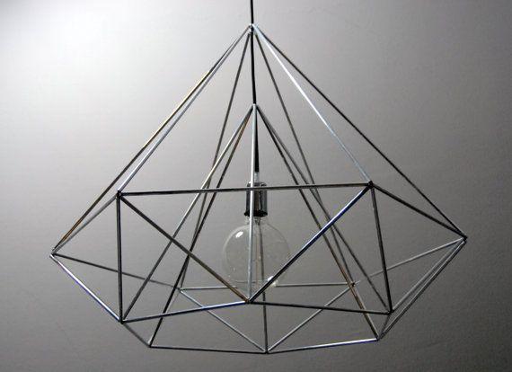 Diamond Himmeli light pendant geometric silver lamp by panselinos, $135.00