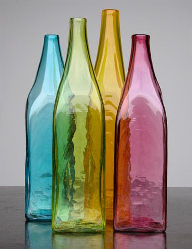 colored glass bottles - beautiful!