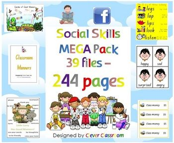 Social Skills MEGA Pack Worksheets, Programme & Posters - PDF file    244 pages of social skills/behavior management resources.    Designed by Clever Classroom.     The best of Clever Classroom's social skills resources plus some new ones!      39 files have been combined to form one large file with the following resources
