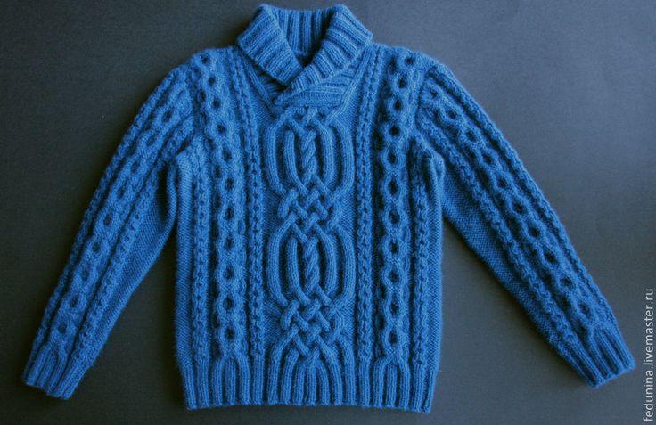 Купить детский свитер - синий, однотонный, свитер для мальчика, свитер вязаный, свитер спицами, араны