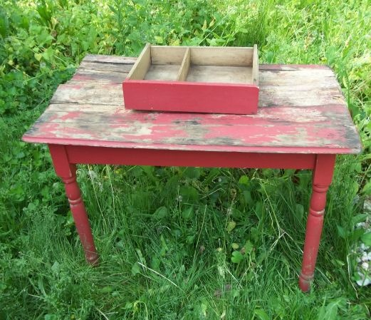 100 Year Old Antique Barn Red Kitchen Table to Restore | eBay