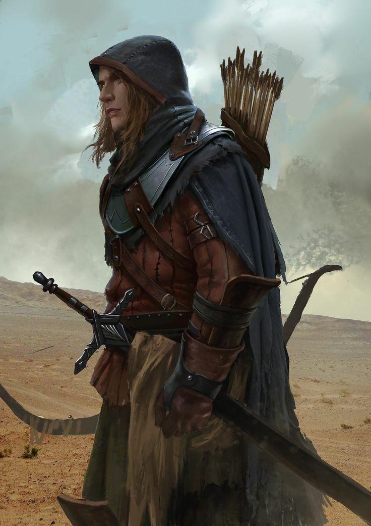 m Ranger med Armor Longbow Longsword Cloak rpg settings : Photo
