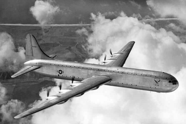 1947 first flight Convair XC-99 prototype 6-engined heavy cargo aircraft, the largest piston-engined land-based transport aircraft ever built. Variant of the B-36; with same powerplant, tail unit and wings, it had a new 2-deck fuselage which could accommodate 400 troops.