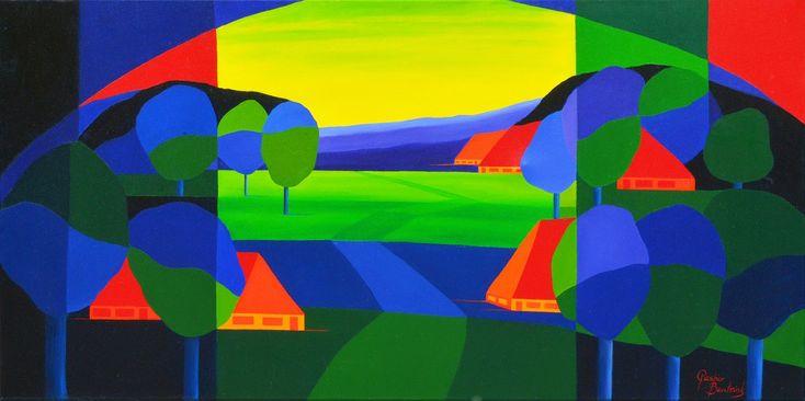 Dit is een: Acrylverf op doek, titel: 'Groenrijk landschap' kunstwerk vervaardigd door: Casper Bentsink