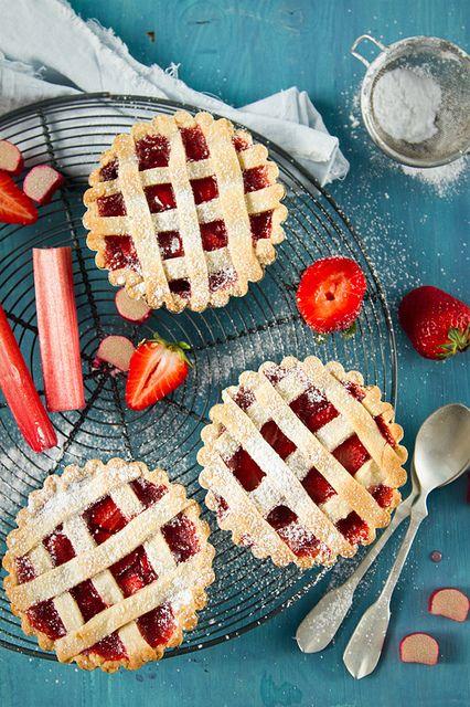 Rhubarb and strawberry crostata