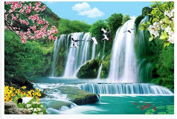 Beibehang 3d Large Wall Mural Wallpaper Hd Bridge At Night: Bird Waterfall Landscape TV Backdrop 3d Wallpaper HD