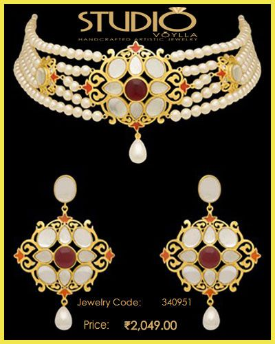 #Amer A Piece Of #Royal #History #Earrings And #Choker Set  #Price : Rs. 2,049.00  #Jewelry_Code : 340951  #Material : Brass + 3% Silver Alloy