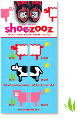 Stickers for toddlers to put in their shoes to help them figure out left from right - they just put the picture together. So cute! By Baltimore graphic designer Ellen Lichtman -- $6 for 3 stickers