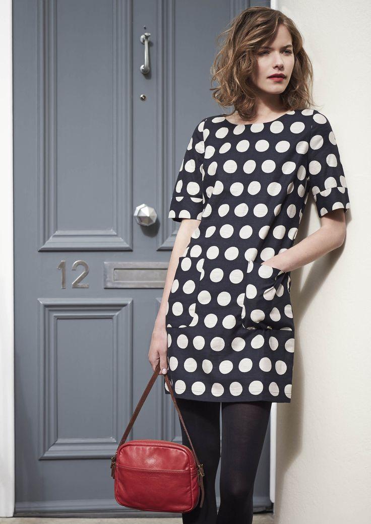 Cath Kidston new autumn collection | Big Spot Charcoal shift dress #cathkidston