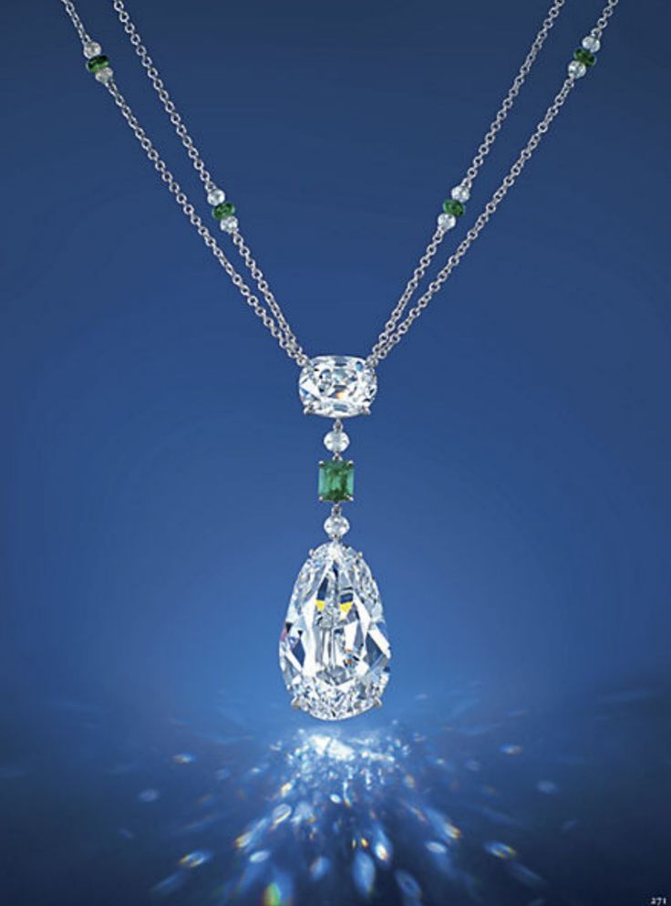 The Eye of Golconda:  The Eye of Golconda – Set with a pear-shaped diamond weighing 40.05 carats, to the old mine-cut diamond surmount weighing 6.76 carats, spaced by an octagonal-shaped emerald weighing 0.87 carat and diamond beads, suspended from a double-strand neckchain designed as a series of emerald roundels flanked by diamond beads, mounted in 18k white gold,