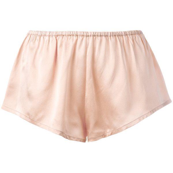 Asceno sleep shorts ($98) ❤ liked on Polyvore featuring intimates, sleepwear, pajamas, silk pjs, silk pyjamas, silk sleepwear and silk pajamas