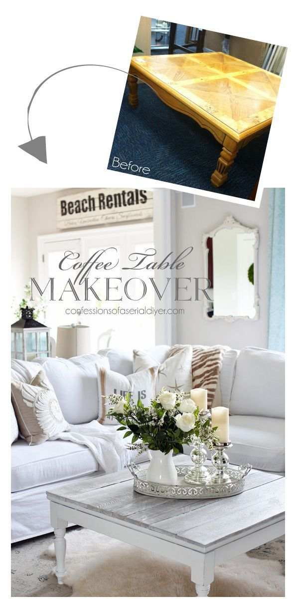 Create a wood planked coffee table using fence pickets!