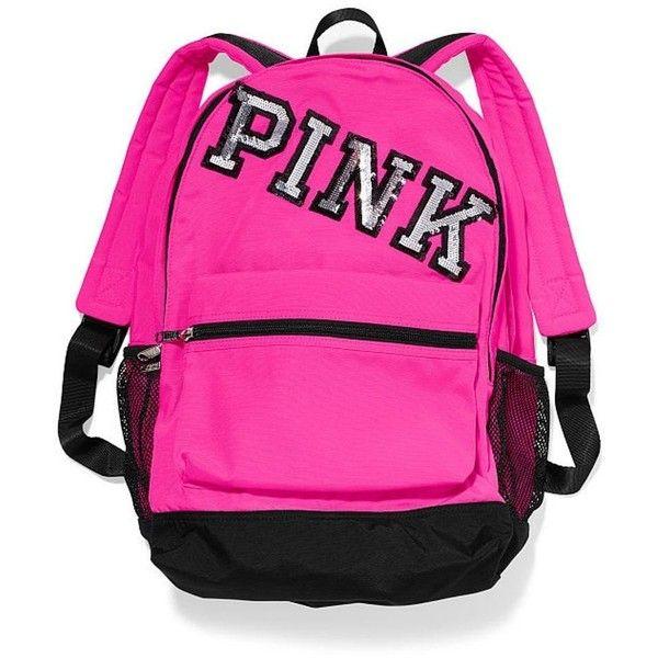 VICTORIA'S SECRET PINK Campus Backpack Neon Hot PINK W/Bling ($80) ❤ liked on Polyvore featuring women's fashion, bags, backpacks, neon backpack, pink bag, backpacks bags, pink backpack and hot pink bag